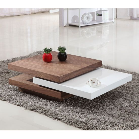 Oval Rotating Coffee Table: Iva White/Walnut Rotating Coffee Table