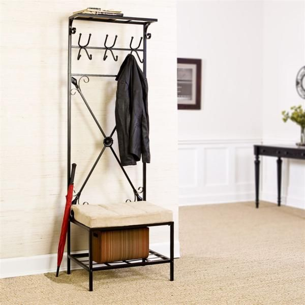 sei entryway storage rack hall tree the perfect solution to fill that empty space next to your front or back door this unit not only gives you a place to