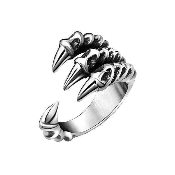 FANSING Mens Biker Ring, Punk Dragon Claw Rings, Stainless Steel, Casting Black, Size 7-12