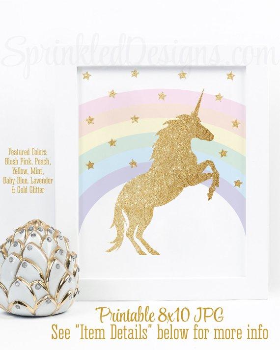 Girls Nursery Faux Glitter pink magical unicorn art print