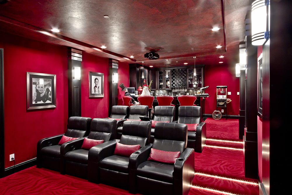 Theater room with bar stadium steating house ideas - Home theater stadium seating design ...