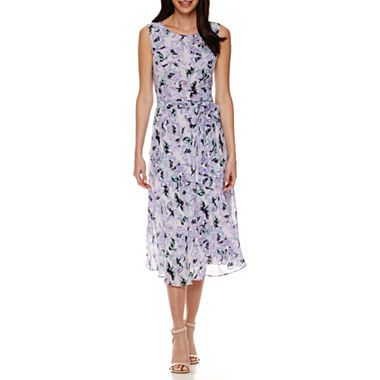 f9eccf2c jcpenney.com | Black Label by Evan-Picone Sleeveless Floral Belted Midi  A-Line Dress