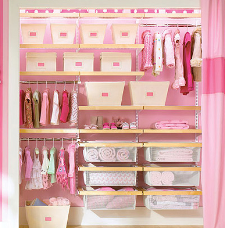 ... Taking Off The Closet Doors To Open Up Space, Can Add Curtains To Close  Off. Accent Color On Back Wall In Light Blue.of Course In Boy/girl Closet  ...