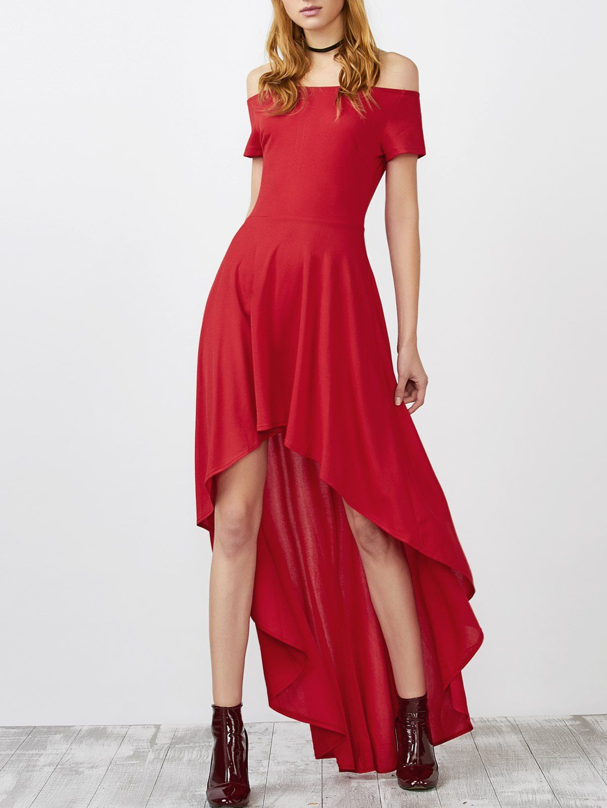 Off shoulder high low prom formal party dress red l bridesmaid