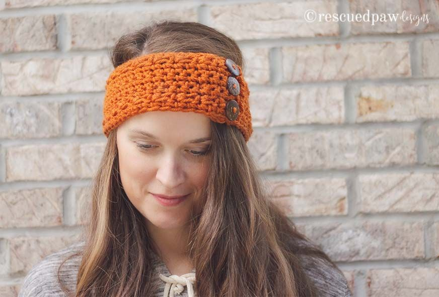 Pumpkin Latte Crochet Ear Warmer Pattern by RPD