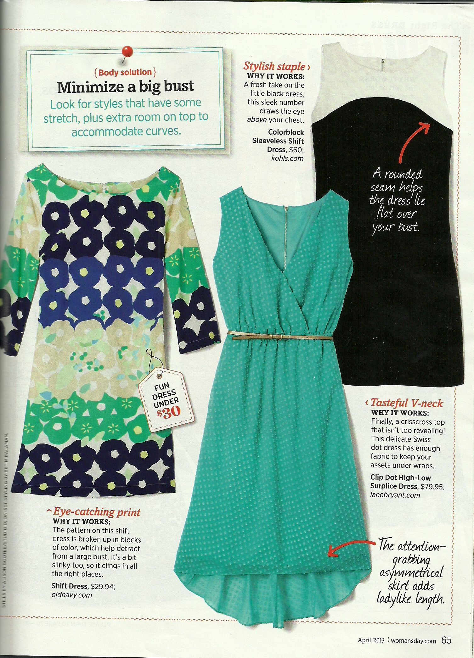 a88587bef88 The Right Dress for You! Minimize a Big Bust--Woman s Day April 2013 ...