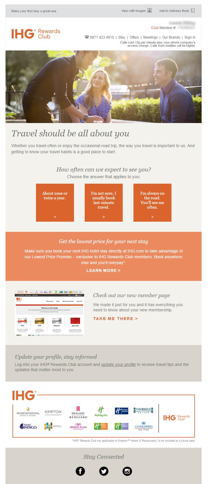 Survey Email from IHG Rewards Club #EmailMarketing #Email #Marketing