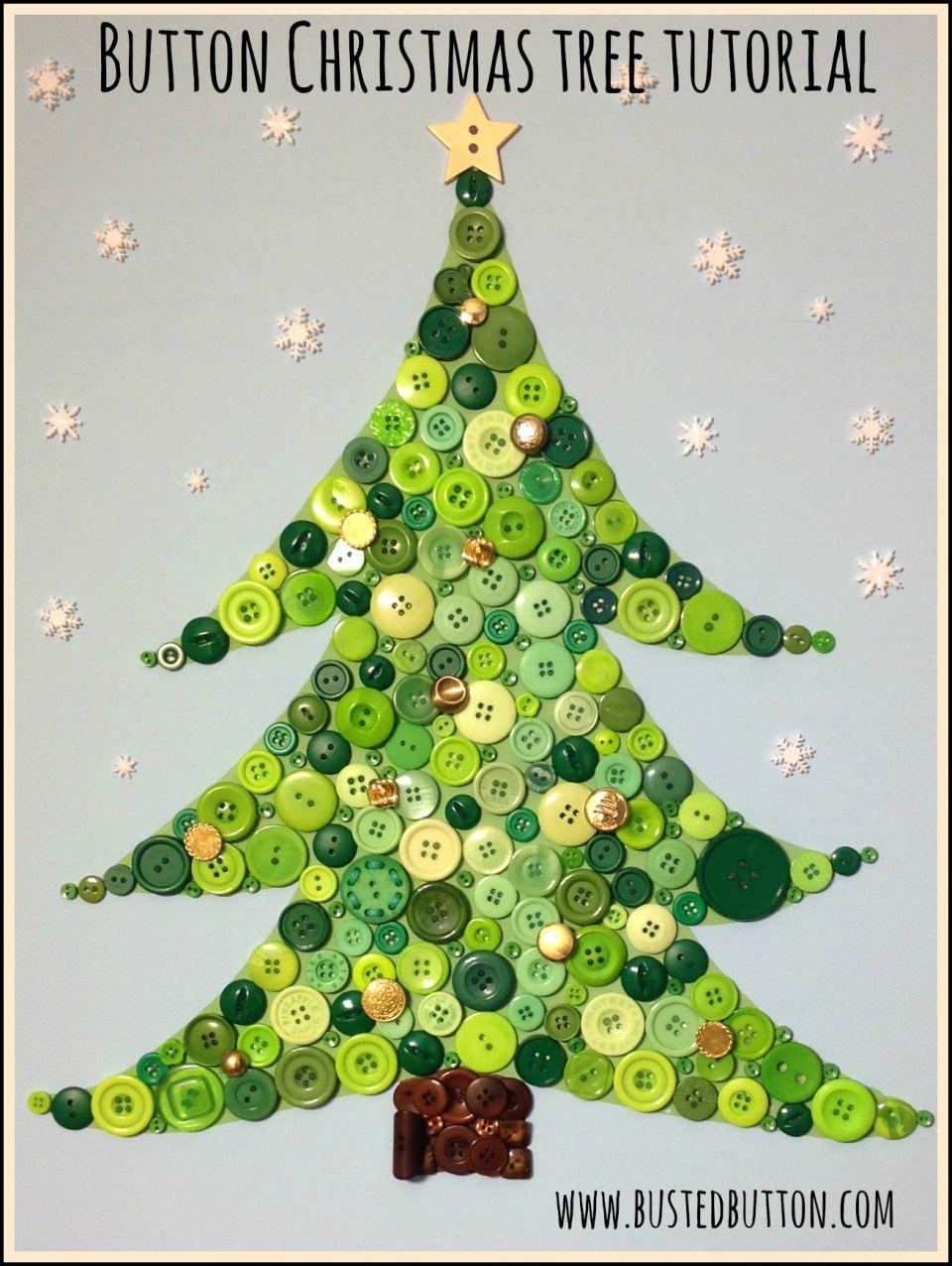 Button Christmas Tree Tutorial Christmas Button Crafts Christmas Tree Beads Christmas Buttons