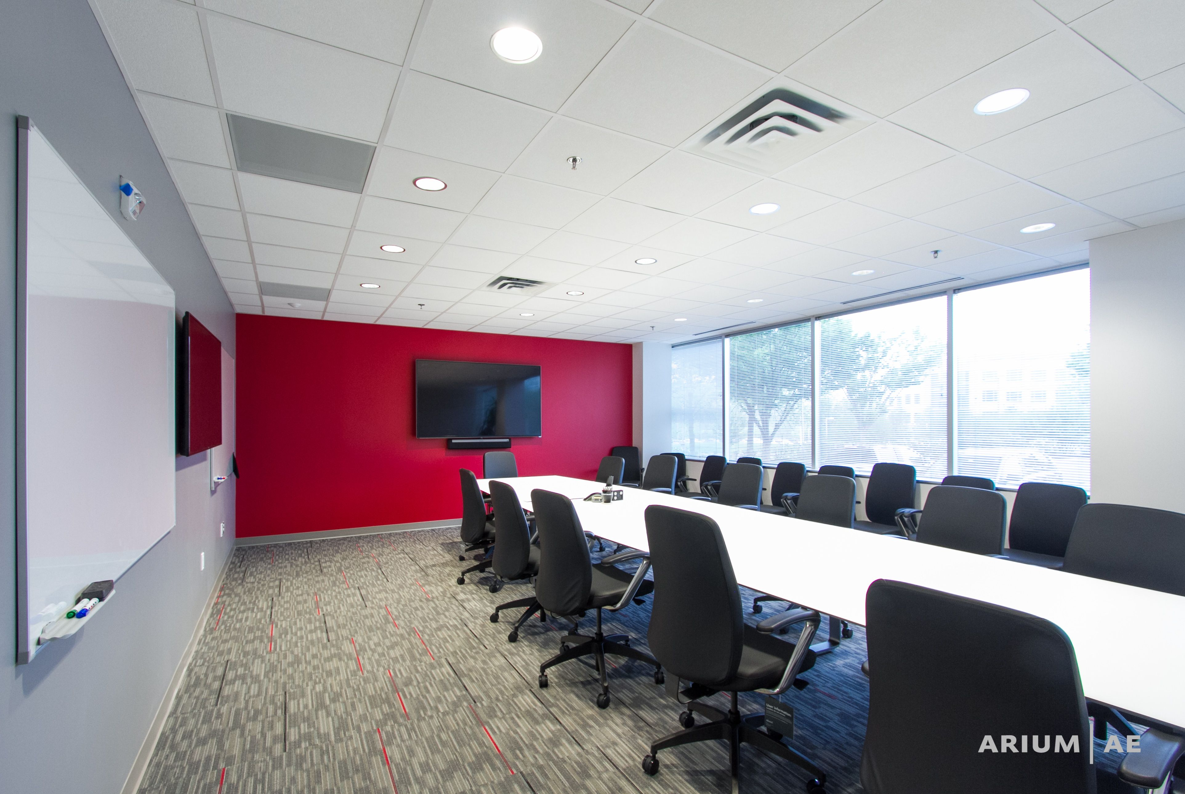 Red Accents Conference Room In An Office Space Red Accent Wall With