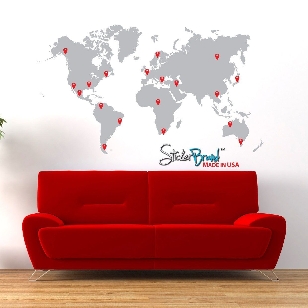 Amazon stickerbrand vinyl wall art world map of earth with pin stickerbrand vinyl wall art world map w pins wall decal sticker grey map w red black white grey pins x easy to apply removable gumiabroncs Image collections