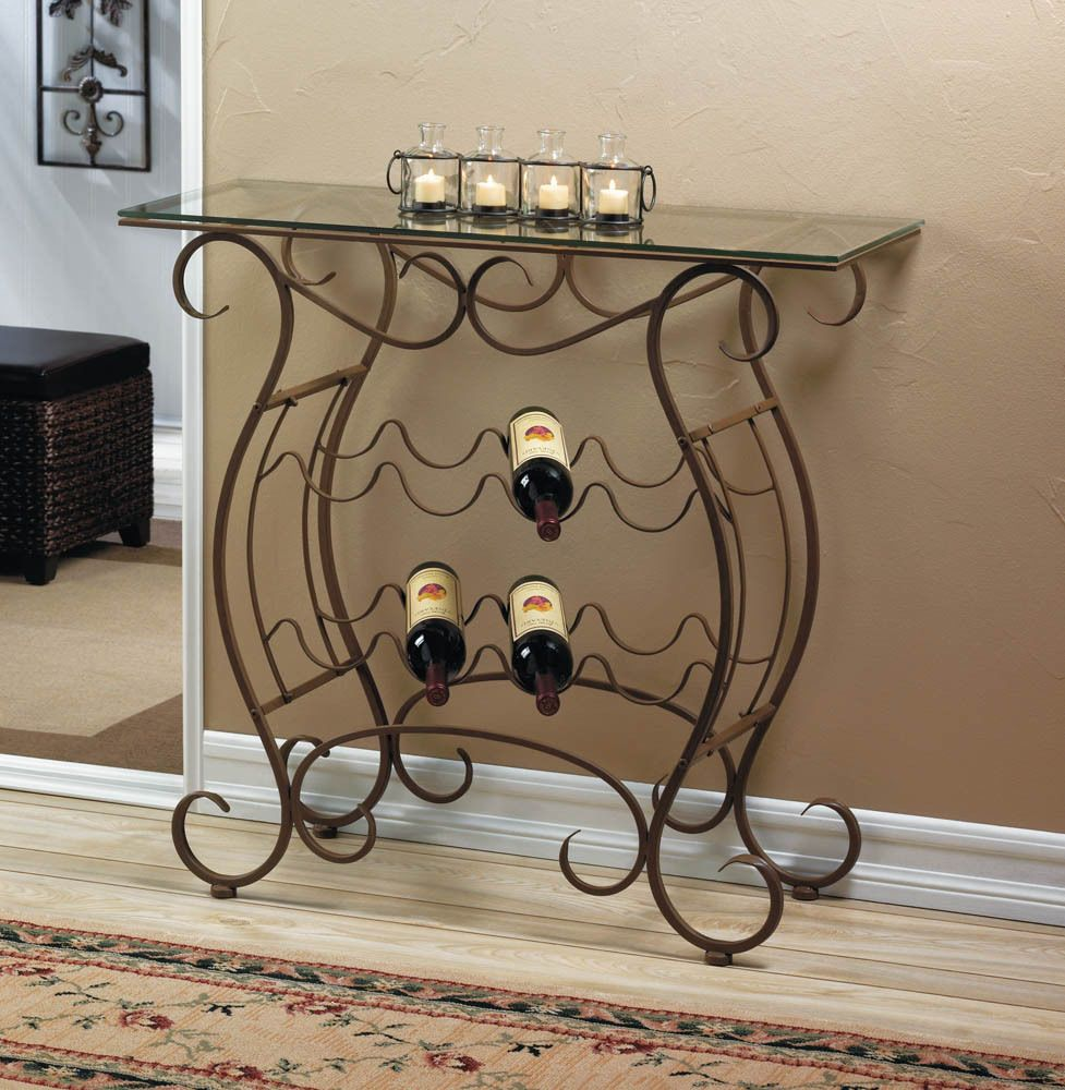 Glass Top Iron Scroll Entry Table Console Bar Wine Bottle Holder