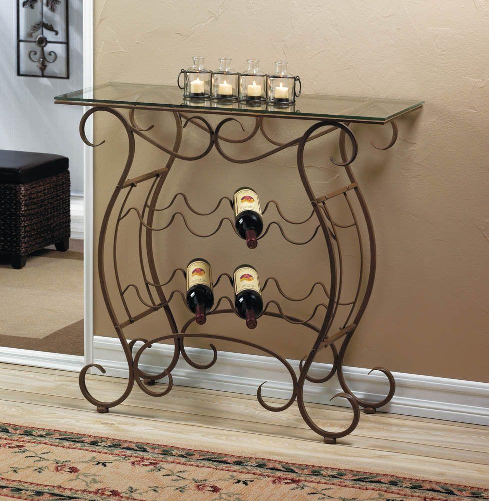 Vneyard Wine Rack Holder Glass Metal Bar Table Stand Decor