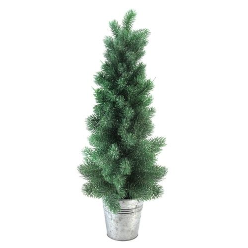 "Frosted Slim Christmas Tree: 25"" Potted Slim Iced Mini Pine Artificial Christmas Tree"