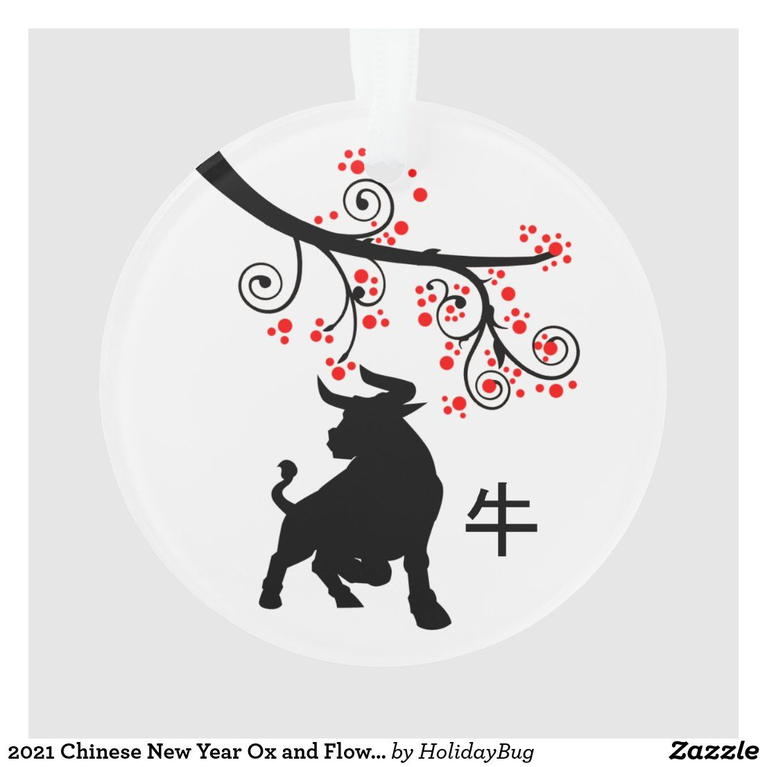 2021 Chinese New Year Ox and Flowers Ornament