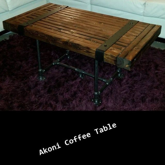 Email if intersted: NDustrialDesign@Outlook.com Akoni Coffee Table - $200. Made from #rustic wood and black #steel pipe.  #industrialchic #NDustrialDesign #steampunk #urban #mancave https://www.facebook.com/NDustrialDesign