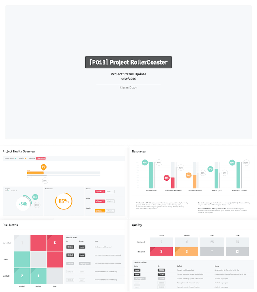 project status update powerpoint template | dashboard/scorecard, Presentation templates