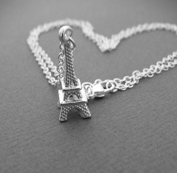 Paris Eiffel Tower Necklace Silver Pendant French by lefrenchgem, $24.00