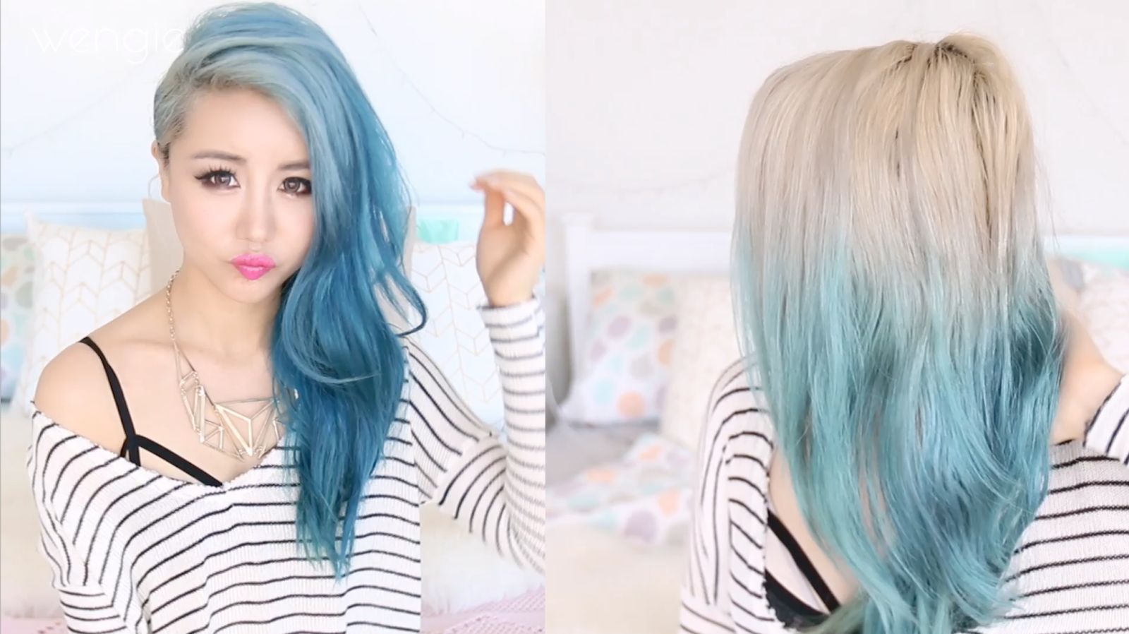 Silver ombre hair from blue remove hair color in wash tutorial