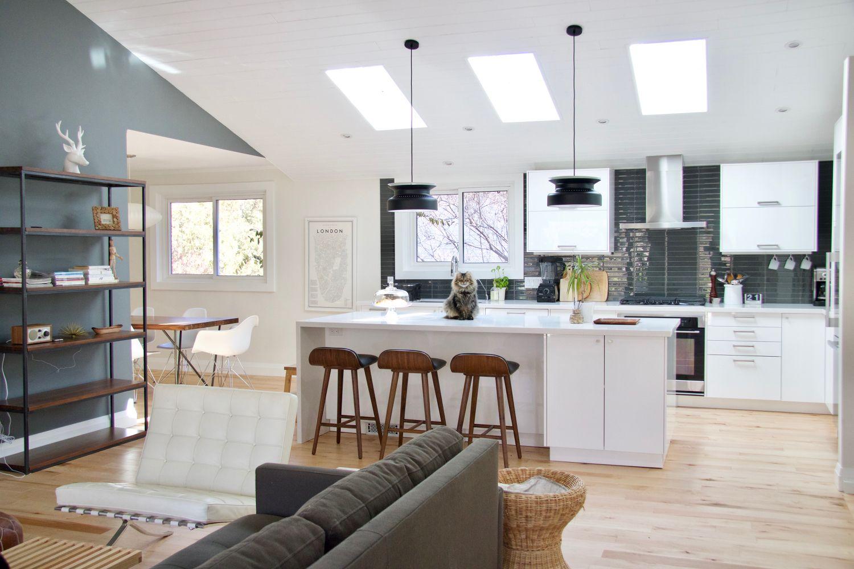 Ikea kitchen | midcentury modern kitchen | white kitchen | vaulted ...