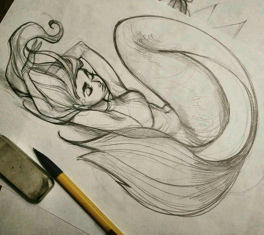 a mermaid chilling by loish bottle sketch