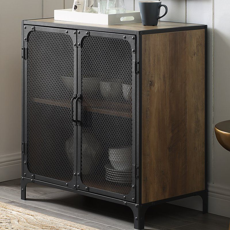 Bowser 2 Door Accent Cabinet Vintage Industrial Furniture Accent Cabinet Accent Doors