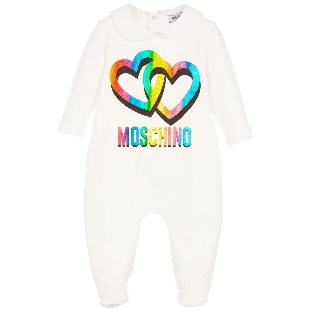 a70da65a53d Moschino Baby - Girls Ivory Logo Babygrow