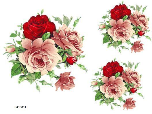 XL Rosa Y Rojo Té Rosas Shabby Tobogán Calcomanías ~ ~ Tamaño De