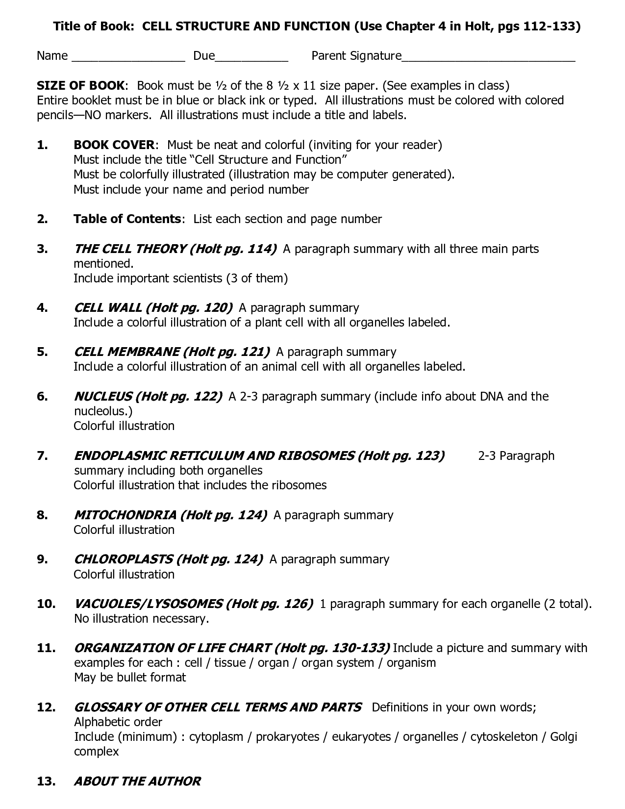Holt Biology Cell Structure Worksheet Answers
