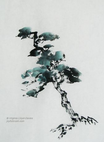 Chinese Brush Painting Of Tree In Black Ink Sumi E