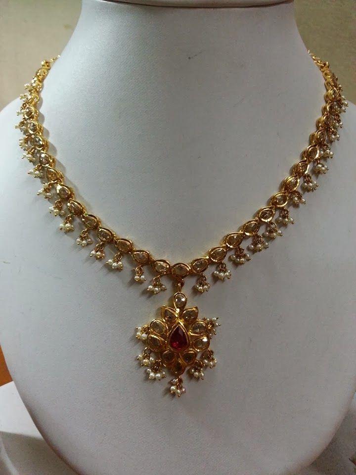 South Jewellery Uncut Diamond Necklace Indian Wear In
