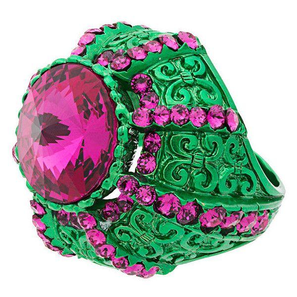 Gucci Crystal Pink and Green Pincushion Ring QLVoVu