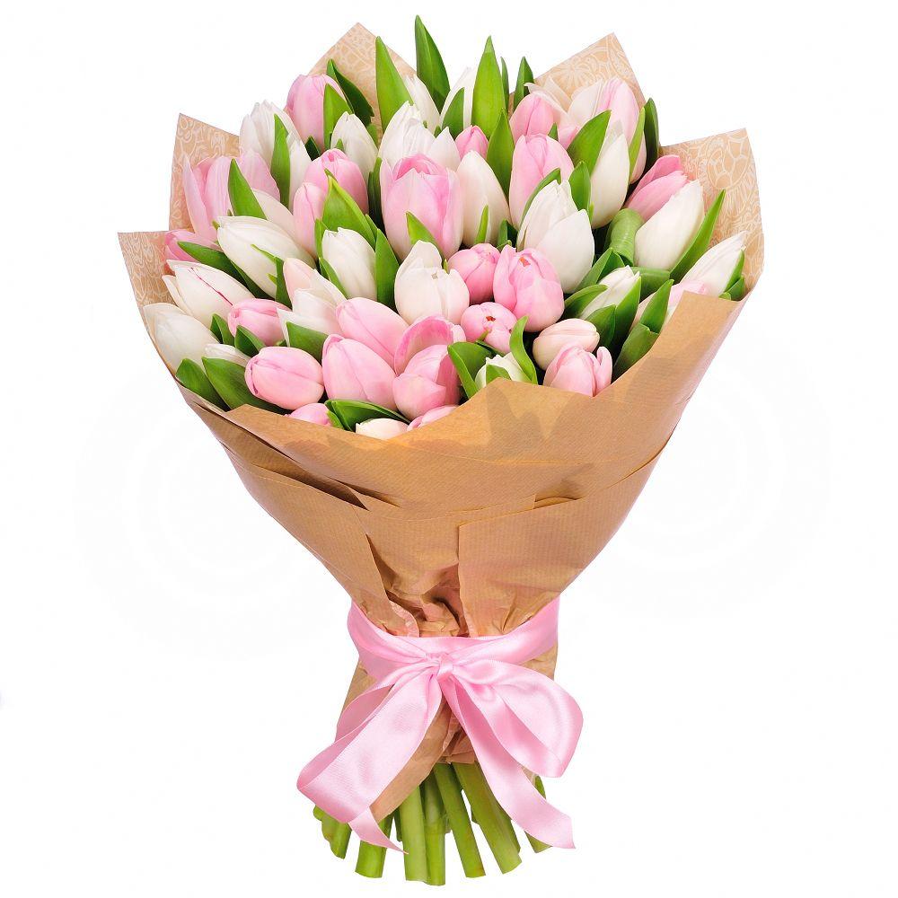Тюльпаны розовые 51 шт. Букет розовых Испанских тюльпанов.   Тюльпаны, Букет из тюльпанов, Цветы на рождение