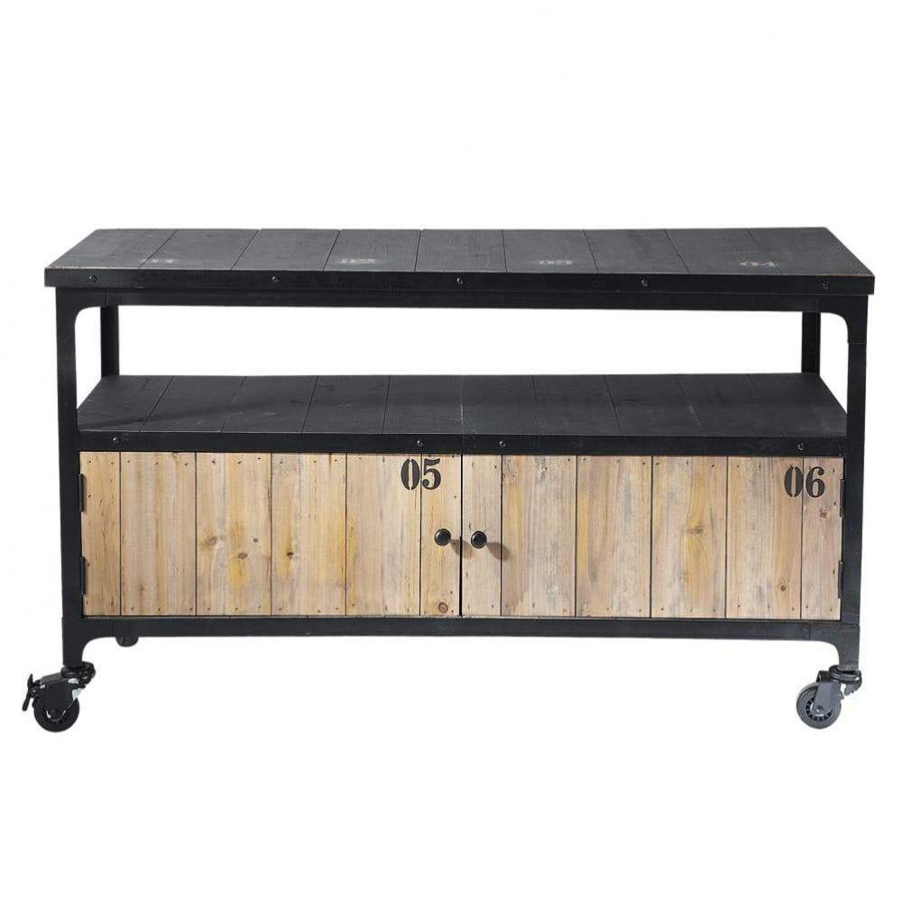 meuble tv indus roulettes en mtal et bois noir l 110 cm - Meuble Tv A Roulettes Noir