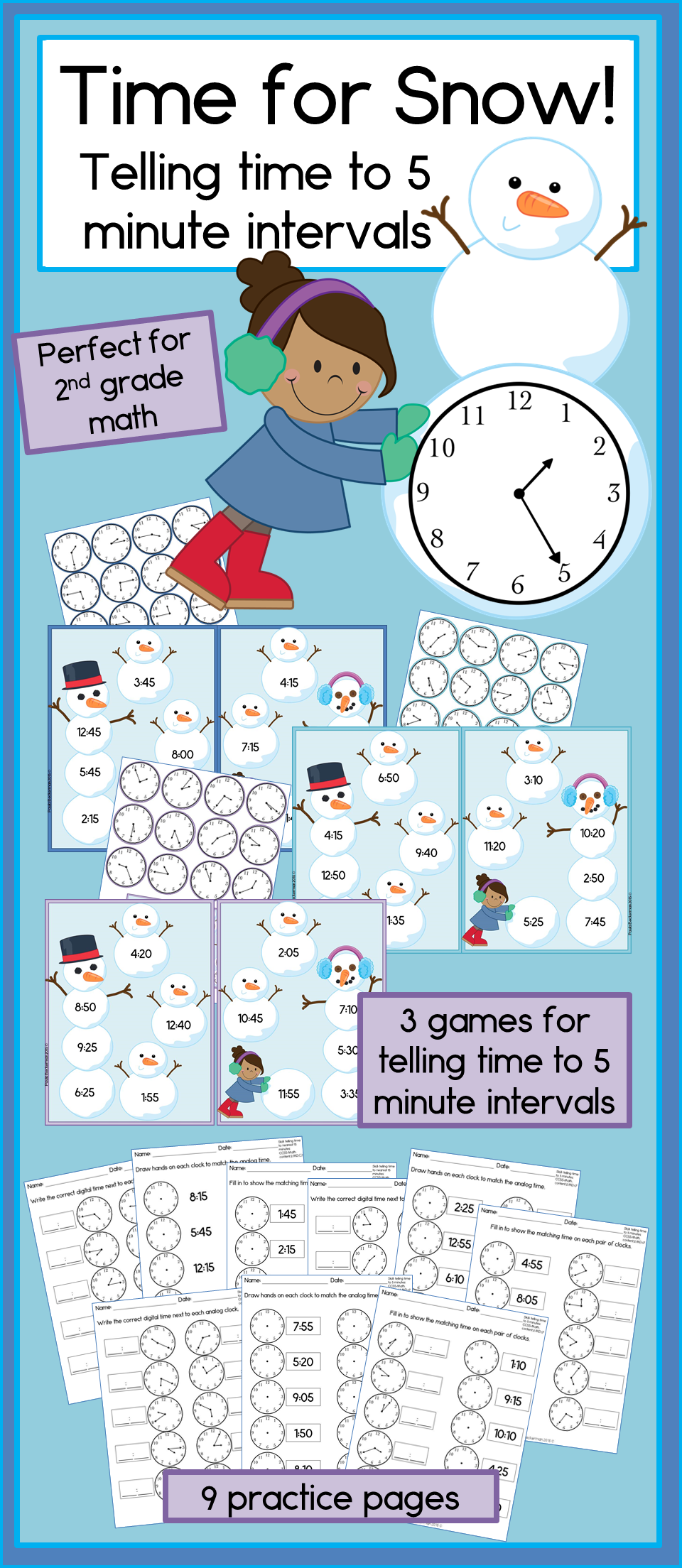 Time for Snow: Telling time to the nearest 5 minutes, 2nd grade math ...