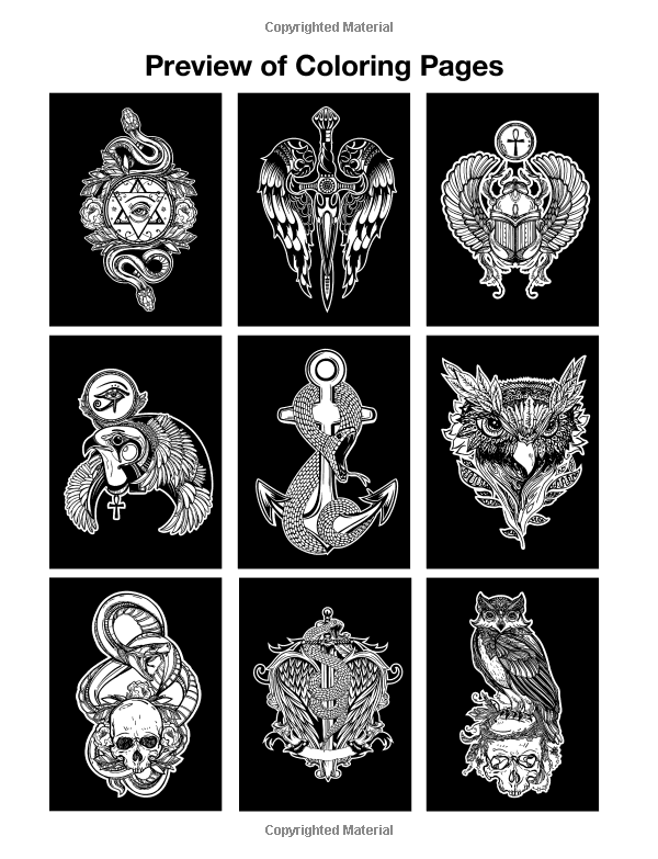 Coloring Book For Men Tattoo Designs Black Background Art Therapy