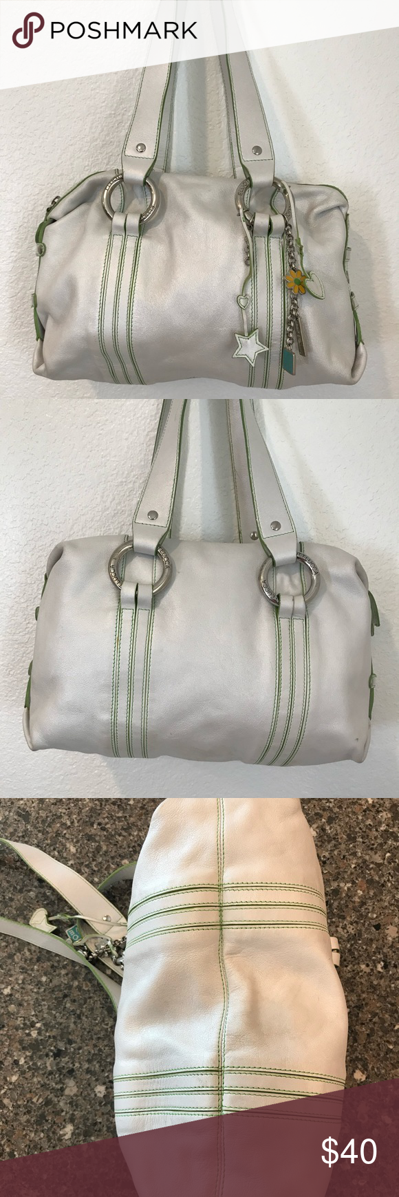 Elliott Lucca Leather Satchel Very cool and unusually colored silvery white leather bag.  Lime green edging.  Zipper top and interior zip pocket and slip pockets. Minimal wear.  Some spots on interior lining.  Size approximately 12w x 3d x 8h inches. Very soft and comfortable to carry. Elliott Lucca Bags Satchels #zippertop