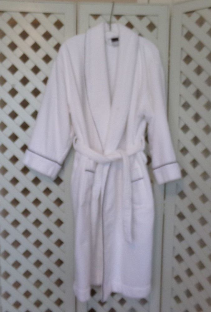 Unisex White Terry Cloth Robe - 100% Egyptian Cotton Hotel Spa Robes - EUC   fashion  clothing  shoes  accessories  unisexclothingshoesaccs ... e1bd695f2