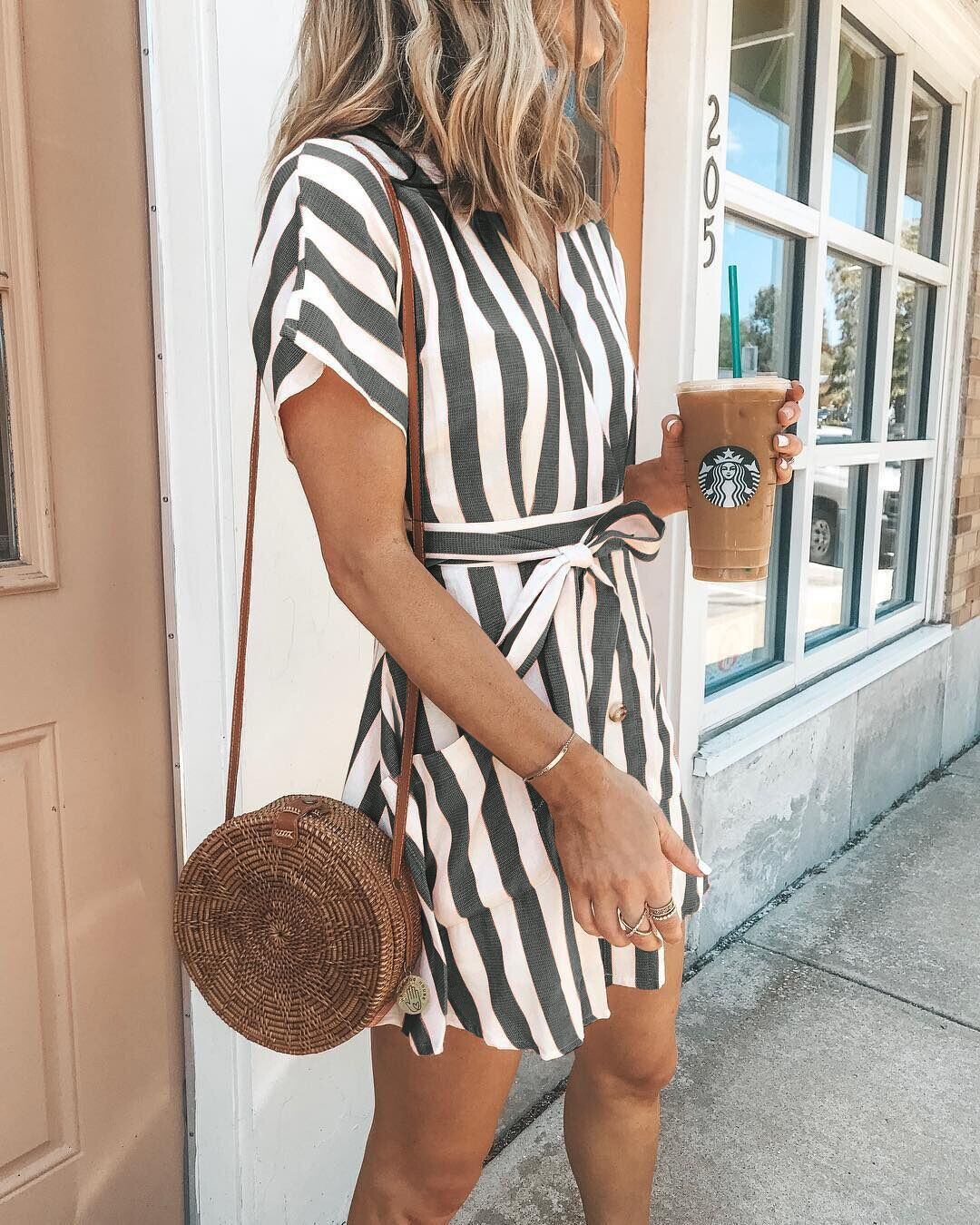 Sweet V Neck Tie-Front Striped Dress