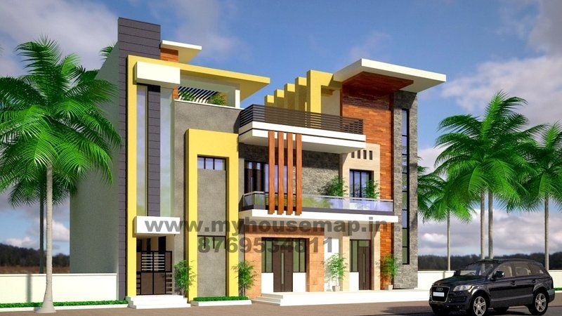 Modern elevation design of residential buildings home for Home front design indian style