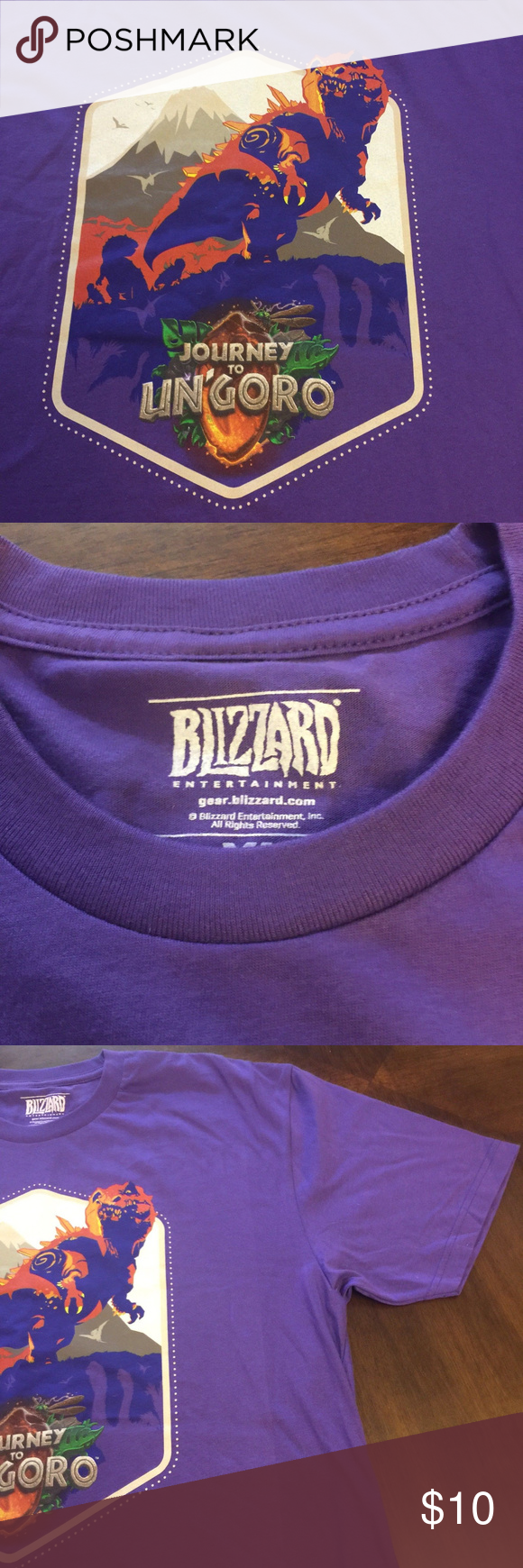c0440ade7 Blizzard Hearthstone Journey to Un'Goror T-Shirt X Unusual Blizzard Journey  to Un'Goro shirt with super dinosaur graphic Purple shirt. large art on the  ...