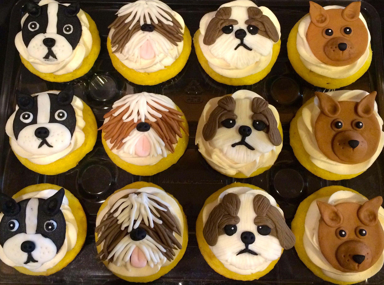 Fondant dog cupcake toppers dog cupcakes fondant dog