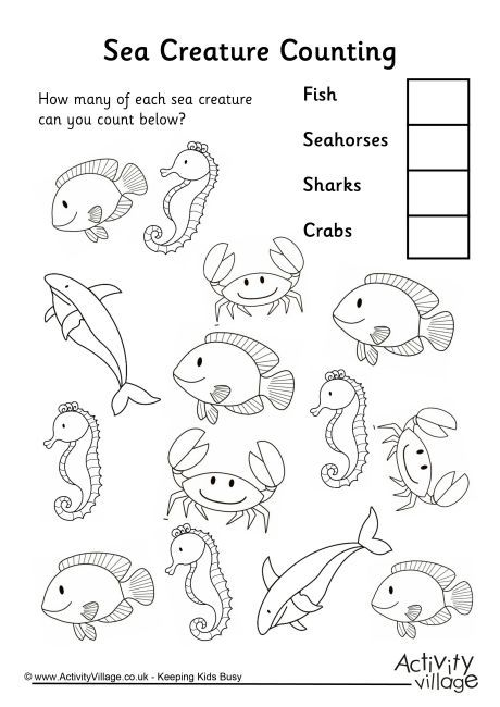 collection of water animals worksheets for kindergarten download them and try to solve math. Black Bedroom Furniture Sets. Home Design Ideas