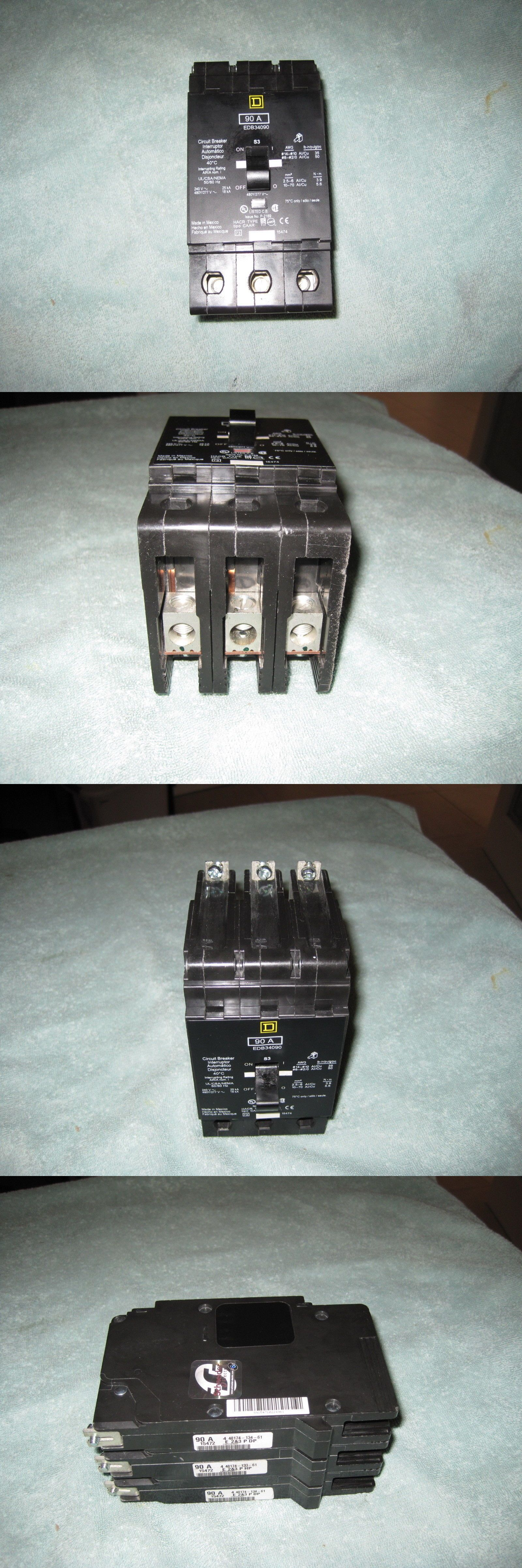 small resolution of circuit breakers and fuse boxes 20596 square d edb34090 circuit breaker 3 pole 90 amp 480 volt buy it now only 159 95 on ebay circuit breakers