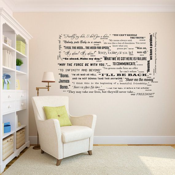 Famous Movie Quotes Wall Quotes Decal Collection Classic Etsy Large Wall Art Living Room Family Wall Decals Living Room Wall #wall #words #for #living #room