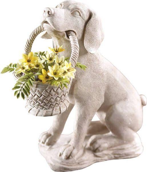 Lovely Puppy Dog With Basket Garden Statue
