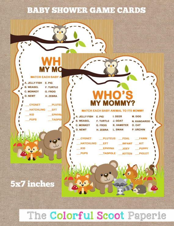 INSTANT DOWNLOAD, Woodland Baby Shower Baby Animal Name