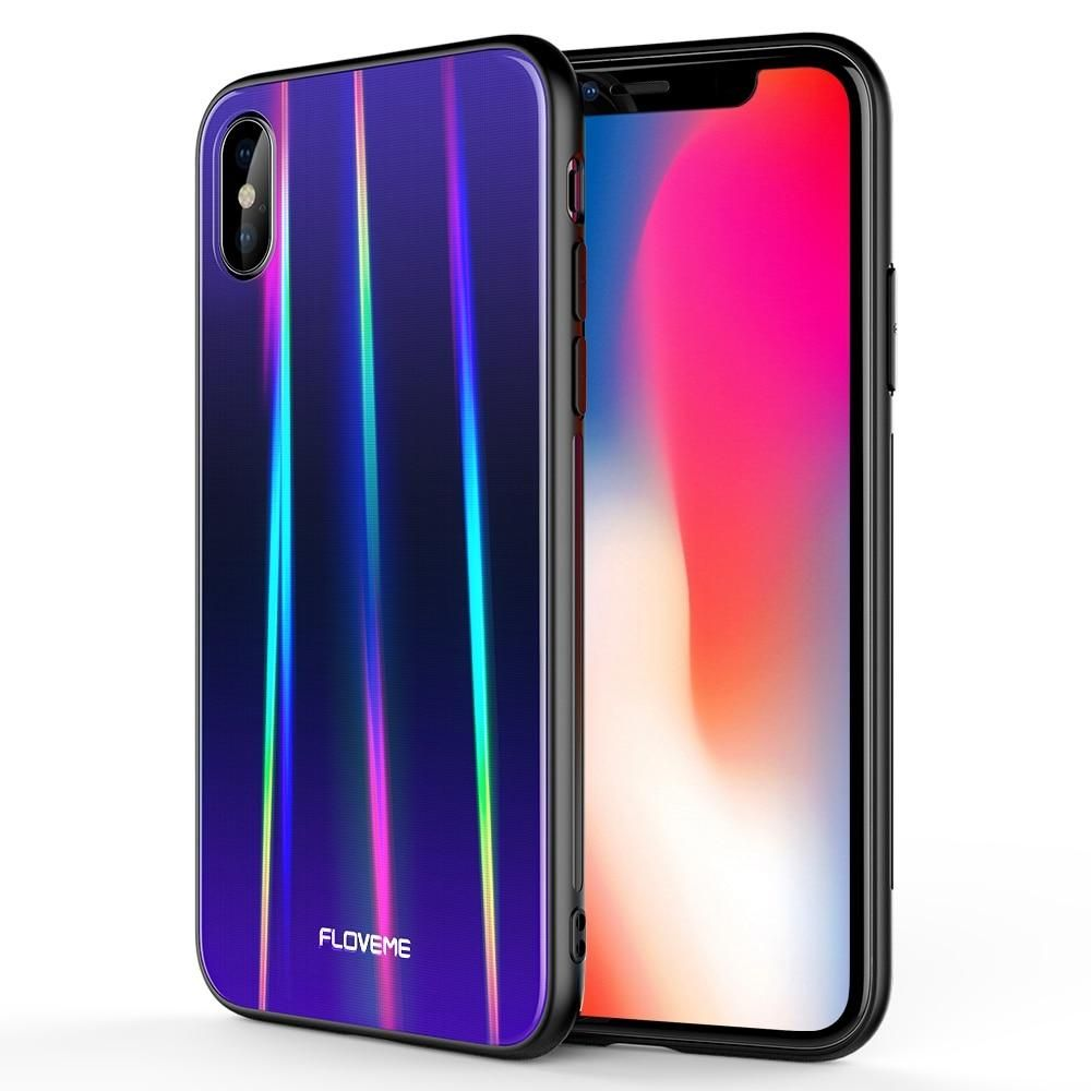 Floveme Aurora Tempered Glass Case For Iphone X 7 8 Luxury Glossy Silicone Edge Cover For Iphone 7 8 Plus Xs Max Xr X Phone Case Tempered Glass Iphone Iphone Cases Iphone