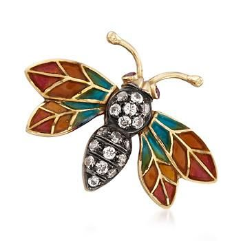 Ross-Simons - C. 1980 Vintage .45 ct. t.w. CZ Enamel Bug Pin in 14kt Yellow Gold With Synthetic Ruby Accents - #842788