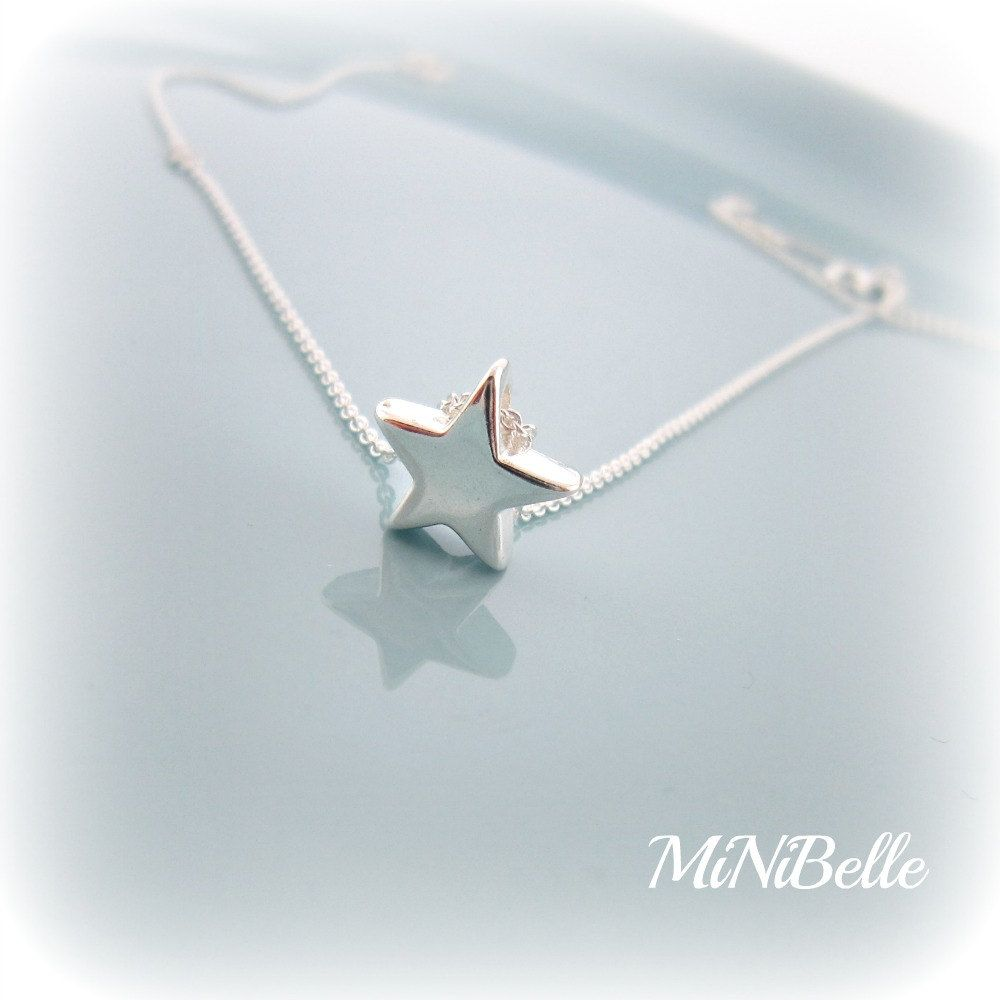 Star necklace simple star necklace sterling silver by minibelle sterling silver star pendant necklace by minibelle on etsy aloadofball Image collections