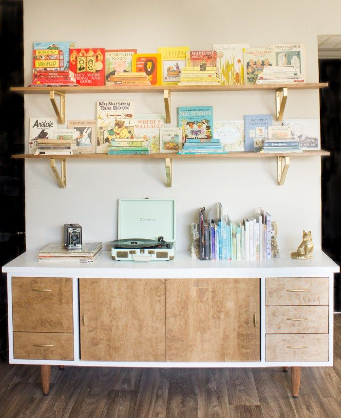 Diy Thrifted Mid Century Modern Laminate Credenza Makeover Using Wood Veneer Paint Stain And Spray Www Hannahbook